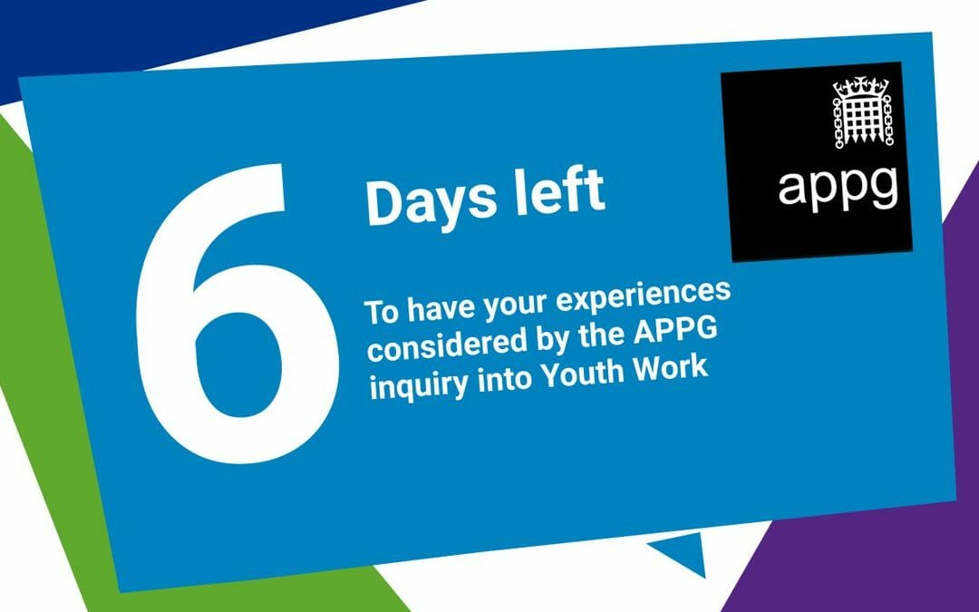 The clock is very much ticking if you've yet to contribute your experiences, thoughts, recommendations, wishes or advice to the @YouthAPPG Inquiry into the Role and Sufficiency of Youth Work!  @bycLIVE @YMCAEng_Wales   https://nya.org.uk/appg-inquiry/ pic.twitter.com/Msf9X17MOr