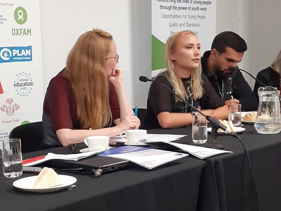 Now @CllrJessBarnard talks about how critical it is to bring young people's voices into discussions happening about young people at #LabourConference2019 #YouthZone #youthworkpic.twitter.com/ZBLuJhY7qg