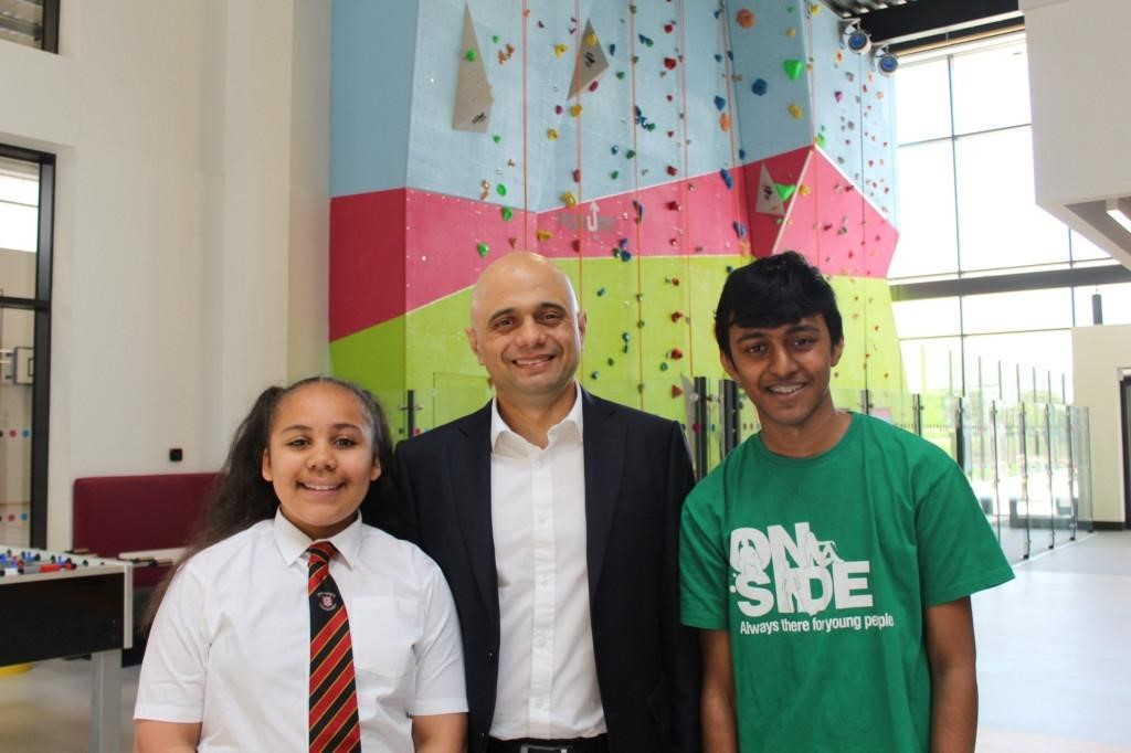 Sajid Javid visiting an Onside Youth Zone in May 2019